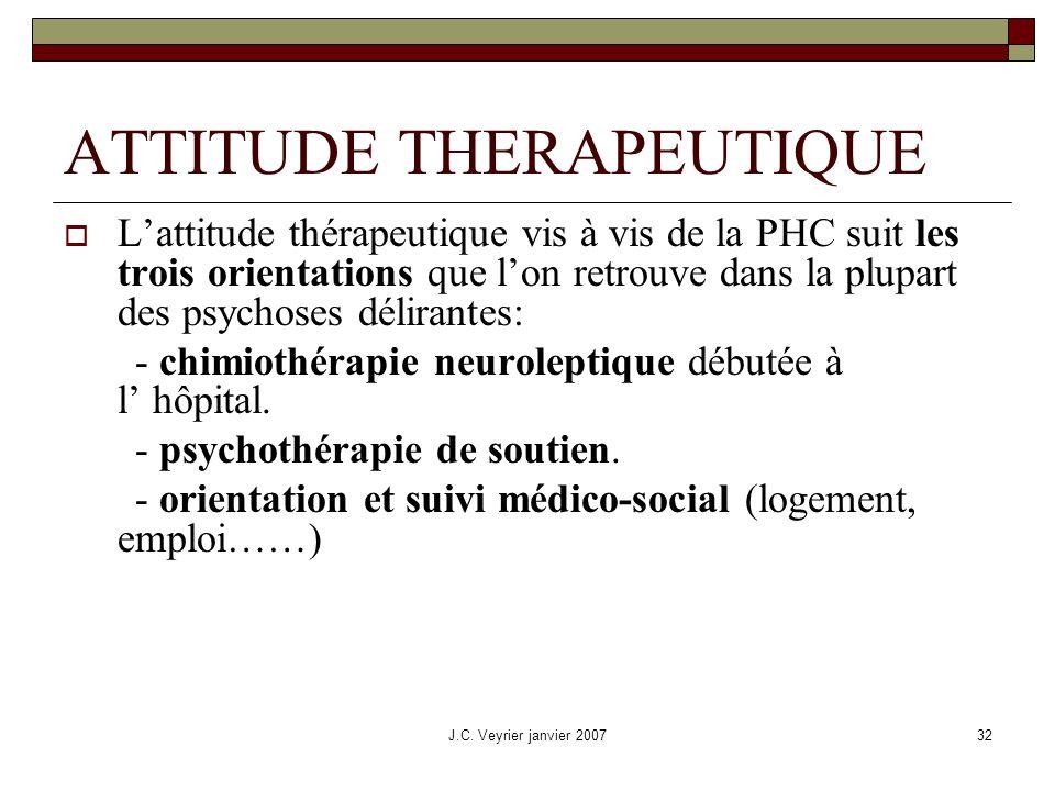 J.C. Veyrier janvier 200732 ATTITUDE THERAPEUTIQUE Lattitude thérapeutique vis à vis de la PHC suit les trois orientations que lon retrouve dans la pl