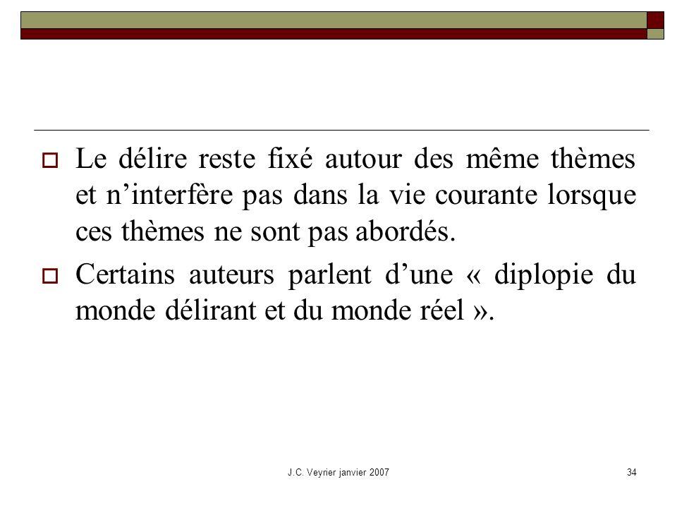 J.C. Veyrier janvier 200734 Le délire reste fixé autour des même thèmes et ninterfère pas dans la vie courante lorsque ces thèmes ne sont pas abordés.