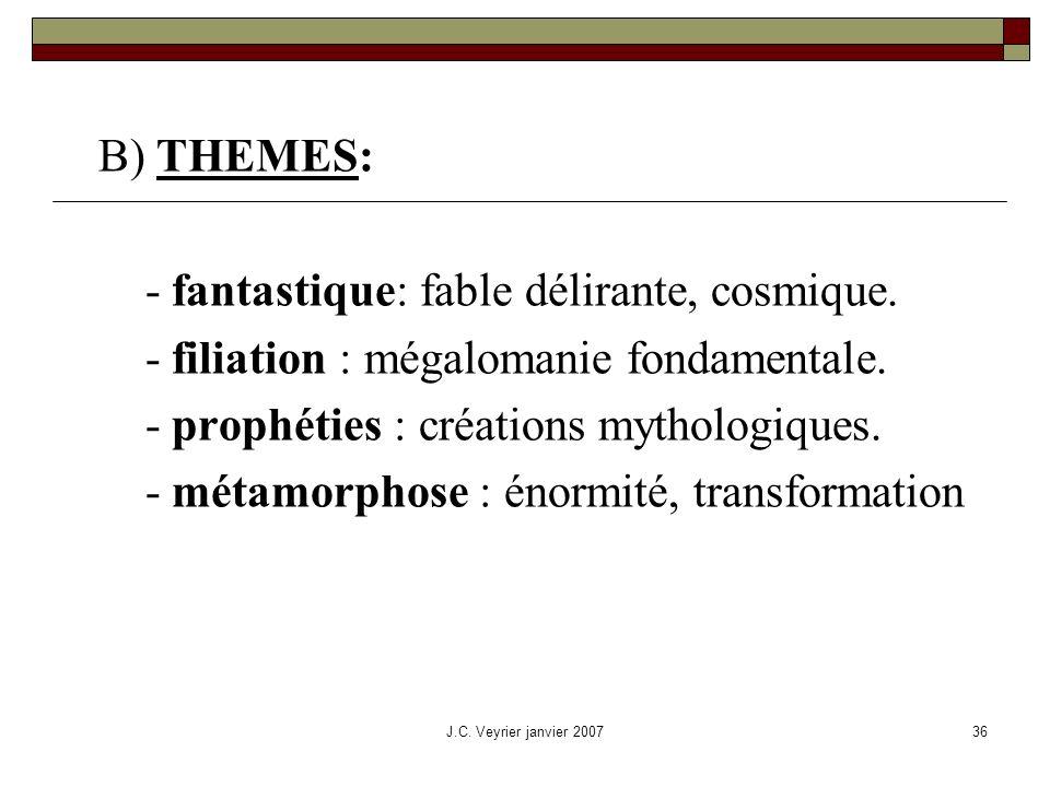 J.C. Veyrier janvier 200736 B) THEMES: - fantastique: fable délirante, cosmique. - filiation : mégalomanie fondamentale. - prophéties : créations myth