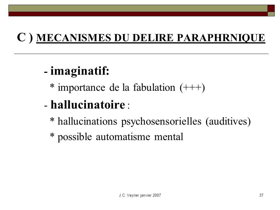 J.C. Veyrier janvier 200737 C ) MECANISMES DU DELIRE PARAPHRNIQUE - imaginatif: * importance de la fabulation (+++) - hallucinatoire : * hallucination
