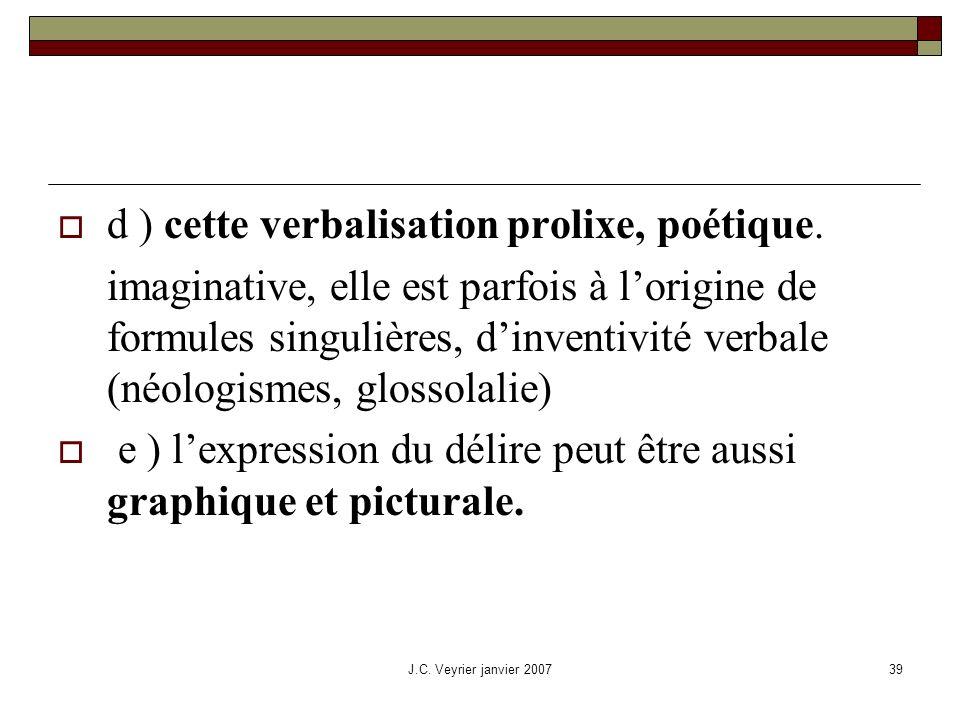 J.C. Veyrier janvier 200739 d ) cette verbalisation prolixe, poétique. imaginative, elle est parfois à lorigine de formules singulières, dinventivité