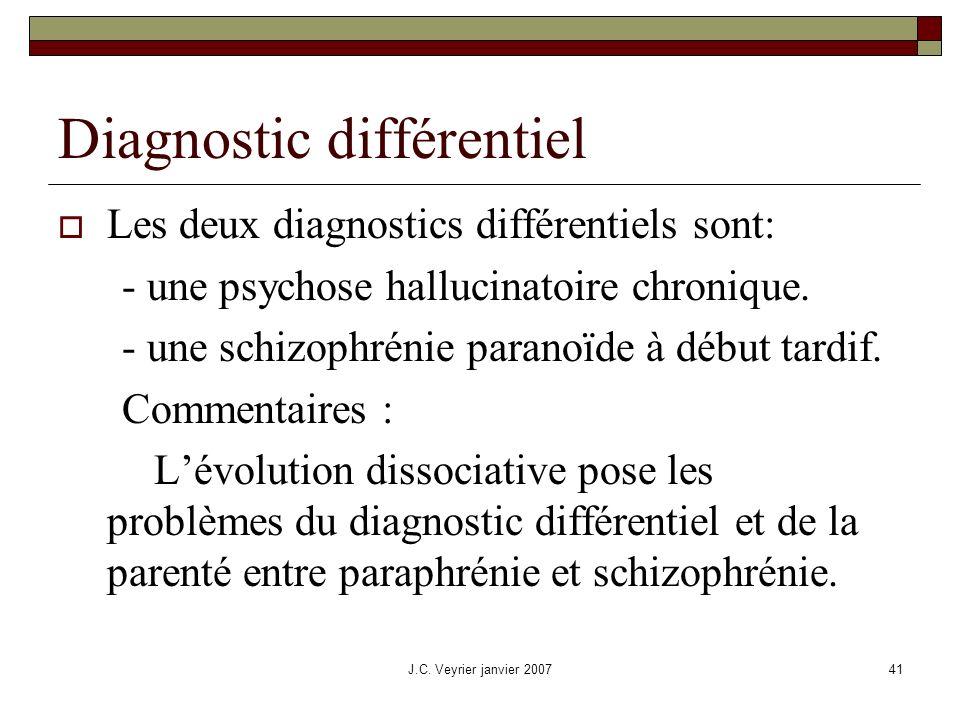 J.C. Veyrier janvier 200741 Diagnostic différentiel Les deux diagnostics différentiels sont: - une psychose hallucinatoire chronique. - une schizophré