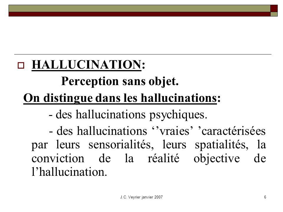 J.C. Veyrier janvier 20076 HALLUCINATION: Perception sans objet. On distingue dans les hallucinations: - des hallucinations psychiques. - des hallucin