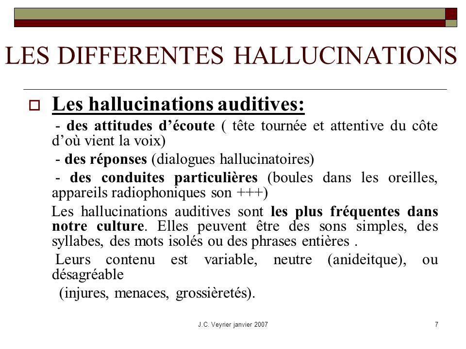 J.C. Veyrier janvier 20077 LES DIFFERENTES HALLUCINATIONS Les hallucinations auditives: - des attitudes découte ( tête tournée et attentive du côte do