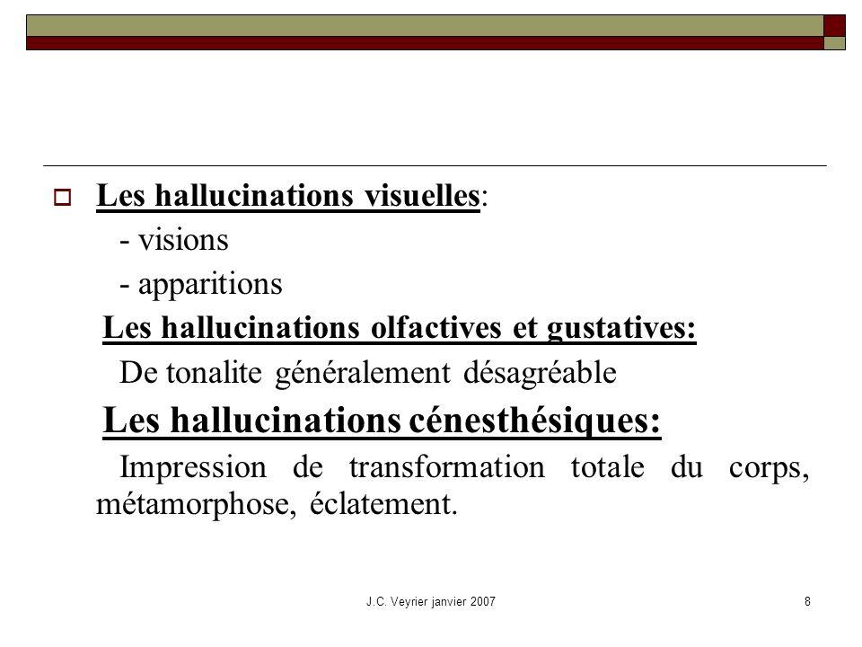 J.C. Veyrier janvier 20078 Les hallucinations visuelles: - visions - apparitions Les hallucinations olfactives et gustatives: De tonalite généralement