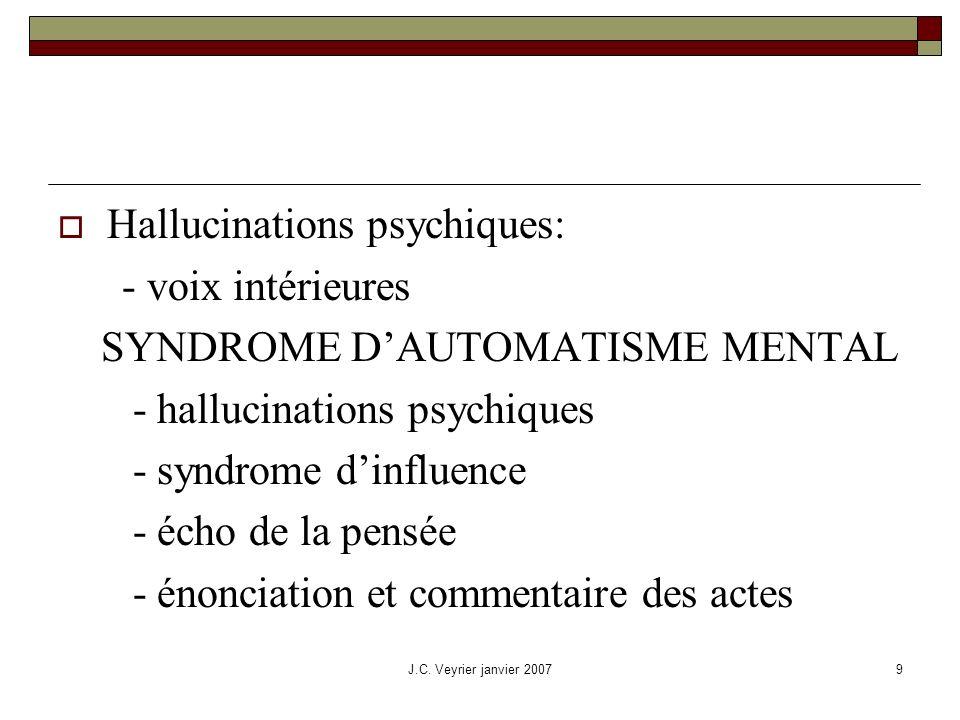 J.C. Veyrier janvier 20079 Hallucinations psychiques: - voix intérieures SYNDROME DAUTOMATISME MENTAL - hallucinations psychiques - syndrome dinfluenc