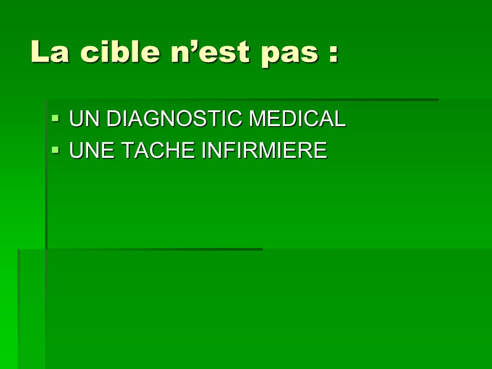 La cible nest pas : La cible nest pas : UN DIAGNOSTIC MEDICAL UN DIAGNOSTIC MEDICAL UNE TACHE INFIRMIERE UNE TACHE INFIRMIERE