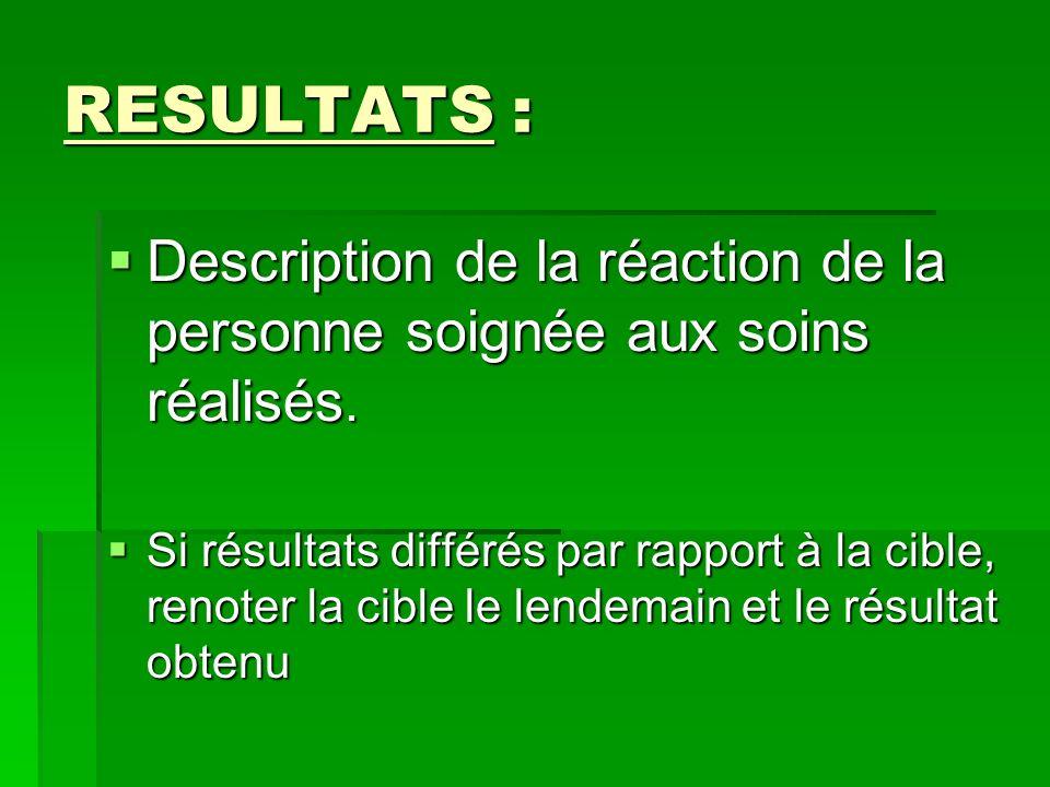 RESULTATS : Description de la réaction de la personne soignée aux soins réalisés. Description de la réaction de la personne soignée aux soins réalisés