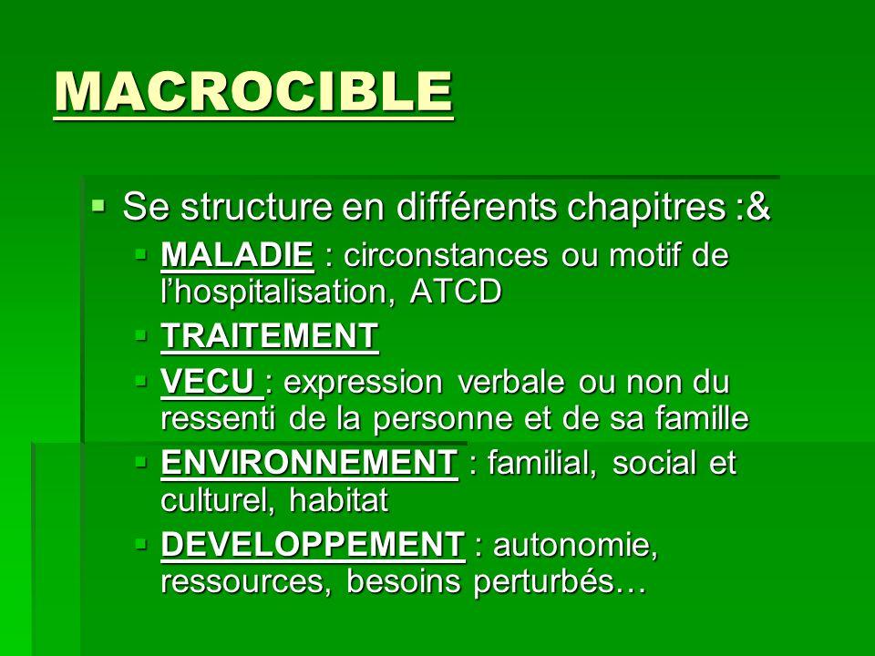 MACROCIBLE Se structure en différents chapitres :& Se structure en différents chapitres :& MALADIE : circonstances ou motif de lhospitalisation, ATCD