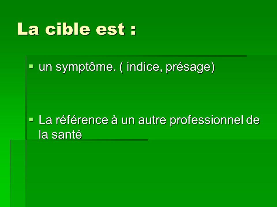 La cible est : La cible est : un symptôme. ( indice, présage) un symptôme. ( indice, présage) La référence à un autre professionnel de la santé La réf