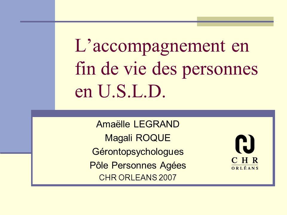 Laccompagnement en fin de vie des personnes en U.S.L.D. Amaëlle LEGRAND Magali ROQUE Gérontopsychologues Pôle Personnes Agées CHR ORLEANS 2007
