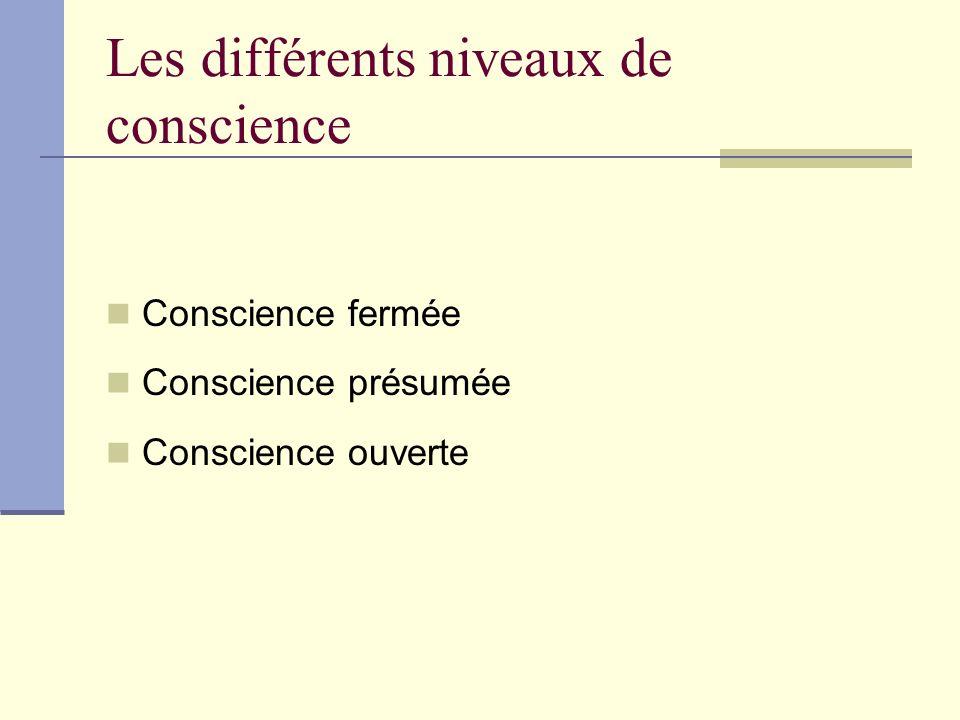 Les différents niveaux de conscience Conscience fermée Conscience présumée Conscience ouverte