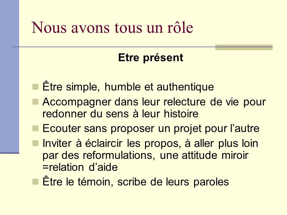Nous avons tous un rôle Etre présent Être simple, humble et authentique Accompagner dans leur relecture de vie pour redonner du sens à leur histoire E