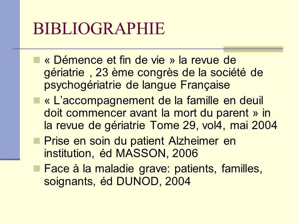BIBLIOGRAPHIE « Démence et fin de vie » la revue de gériatrie, 23 ème congrès de la société de psychogériatrie de langue Française « Laccompagnement d