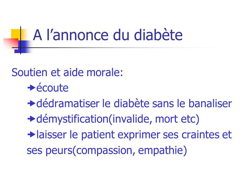 A lannonce du diabète Soutien et aide morale: écoute dédramatiser le diabète sans le banaliser démystification(invalide, mort etc) laisser le patient