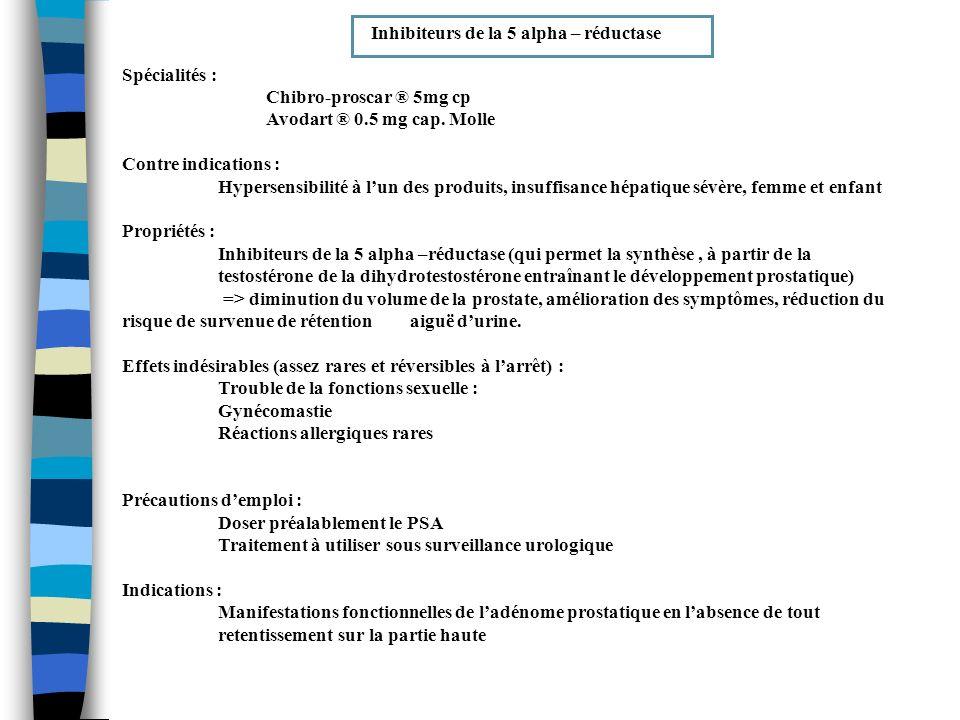 Inhibiteurs de la 5 alpha – réductase Spécialités : Chibro-proscar ® 5mg cp Avodart ® 0.5 mg cap. Molle Contre indications : Hypersensibilité à lun de
