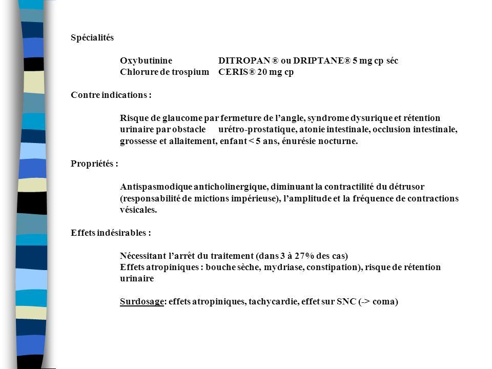 Spécialités OxybutinineDITROPAN ® ou DRIPTANE® 5 mg cp séc Chlorure de trospiumCERIS® 20 mg cp Contre indications : Risque de glaucome par fermeture d