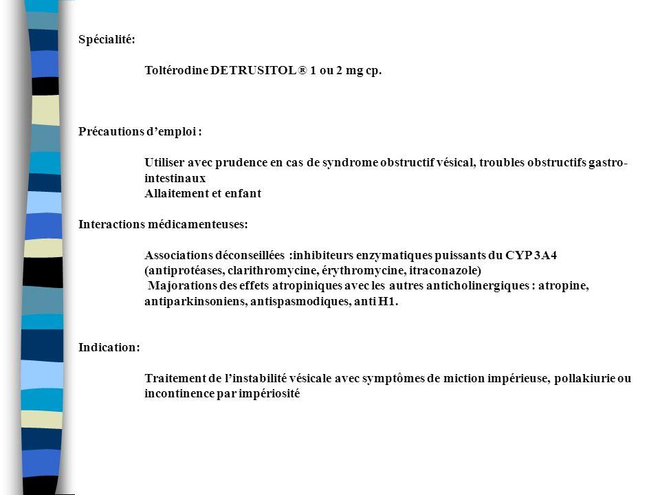 Spécialité: Toltérodine DETRUSITOL ® 1 ou 2 mg cp. Précautions demploi : Utiliser avec prudence en cas de syndrome obstructif vésical, troubles obstru