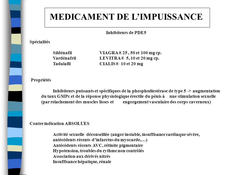 MEDICAMENT DE LIMPUISSANCE Inhibiteurs de PDE5 Spécialités Sildénafil VIAGRA® 25, 50 et 100 mg cp. Vardénafril LEVITRA® 5, 10 et 20 mg cp. Tadalafil C