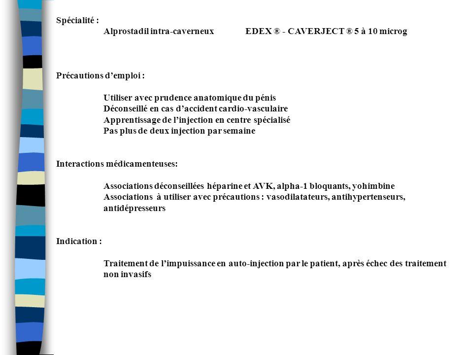 Spécialité : Alprostadil intra-caverneux EDEX ® - CAVERJECT ® 5 à 10 microg Précautions demploi : Utiliser avec prudence anatomique du pénis Déconseil
