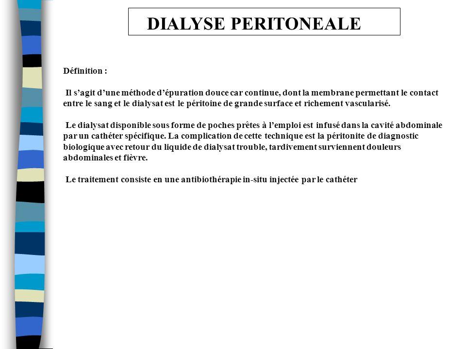 DIALYSE PERITONEALE Solution pour dialyse péritonéale DPCA 2 ® - Solution poche 500 ml, 1000 ml, 1500 ml, 2000 ml, 2500 ml et 5000 ml Propriétés : Liquide de dialyse péritonéale destiné à épurer le sang des insuffisants rénaux Composition, Na+, Ca++, Mg++, Lactate, Cl-, Glucose, Osmolarité Contre indications : Péritonite localisée, perforation abdominale, tumeurs intra-abdominales, traumatisme abdominal récent.