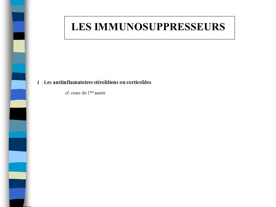LES IMMUNOSUPPRESSEURS I - L es antiinflamatoires stéroïdiens ou corticoïdes cf. cours de 1 ère année
