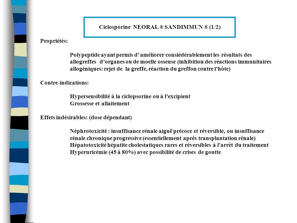 Ciclosporine NEORAL ® SANDIMMUN ® (1/2) Propriétés: Polypeptide ayant permis d améliorer consiédérablement les résultats des allogreffes dorganes ou d