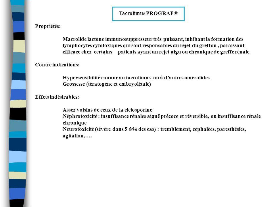 Tacrolimus PROGRAF ® Propriétés: Macrolide lactone immunosuppresseur très puissant, inhibant la formation des lymphocytes cytotoxiques qui sont respon
