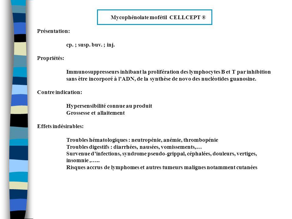 Mycophénolate mofétil CELLCEPT ® Précautions demploi: Surveillance spécialisée, clinique et biologique avec NFS Utiliser avec prudence en cas daffection active grave du tube digestif Interactions médicamenteuses (mal connues car produit nouveau): Associations déconseillés : azathioprine Associations à utiliser avec précautions : aciclovir et probénécide Associations à prendre en compte : vaccins à virus vivants atténués Indication: Prévention des rejets aigus dorgane chez les patients ayant bénéficié dune allogreffe rénale
