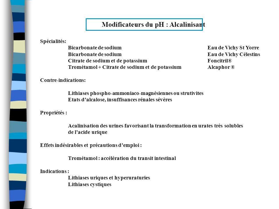 Modificateurs du pH : Alcalinisant Spécialités: Bicarbonate de sodiumEau de Vichy St Yorre Bicarbonate de sodium Eau de Vichy Célestins Citrate de sod