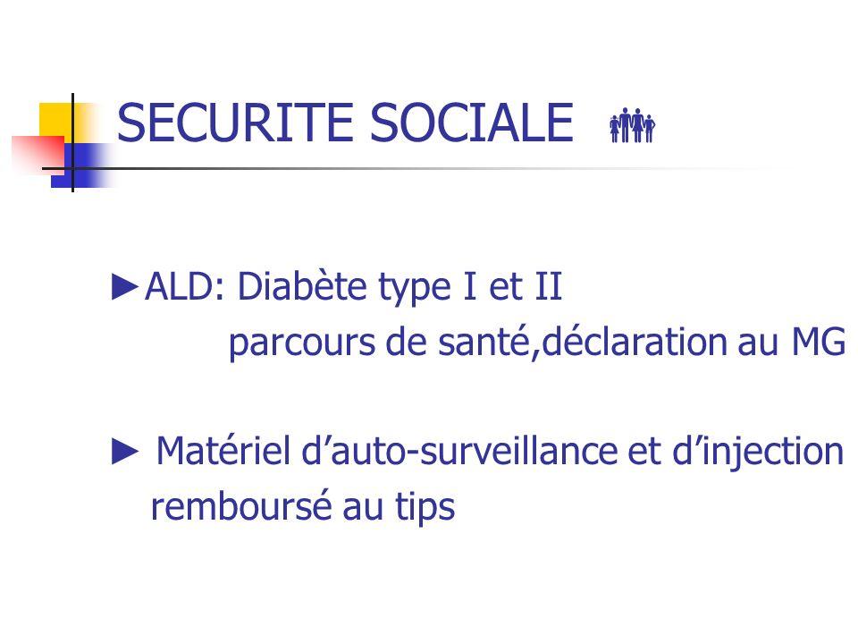 SECURITE SOCIALE ALD: Diabète type I et II parcours de santé,déclaration au MG Matériel dauto-surveillance et dinjection remboursé au tips