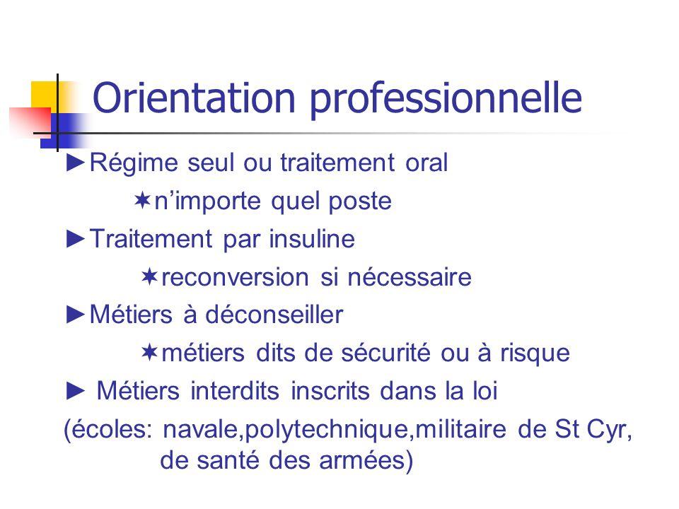 Orientation professionnelle Régime seul ou traitement oral nimporte quel poste Traitement par insuline reconversion si nécessaire Métiers à déconseill