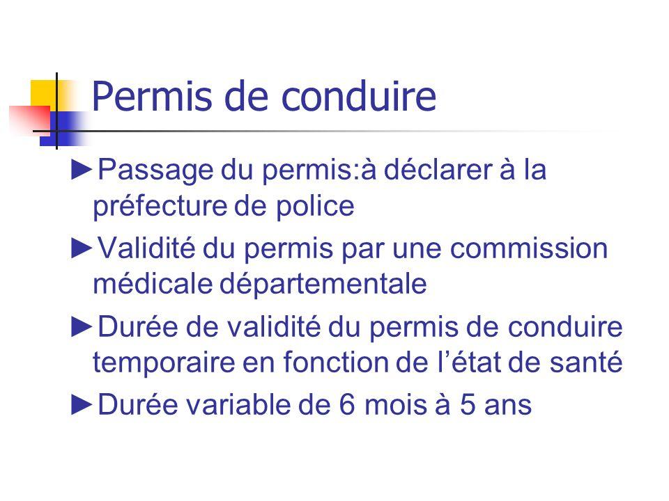 Permis de conduire Passage du permis:à déclarer à la préfecture de police Validité du permis par une commission médicale départementale Durée de valid