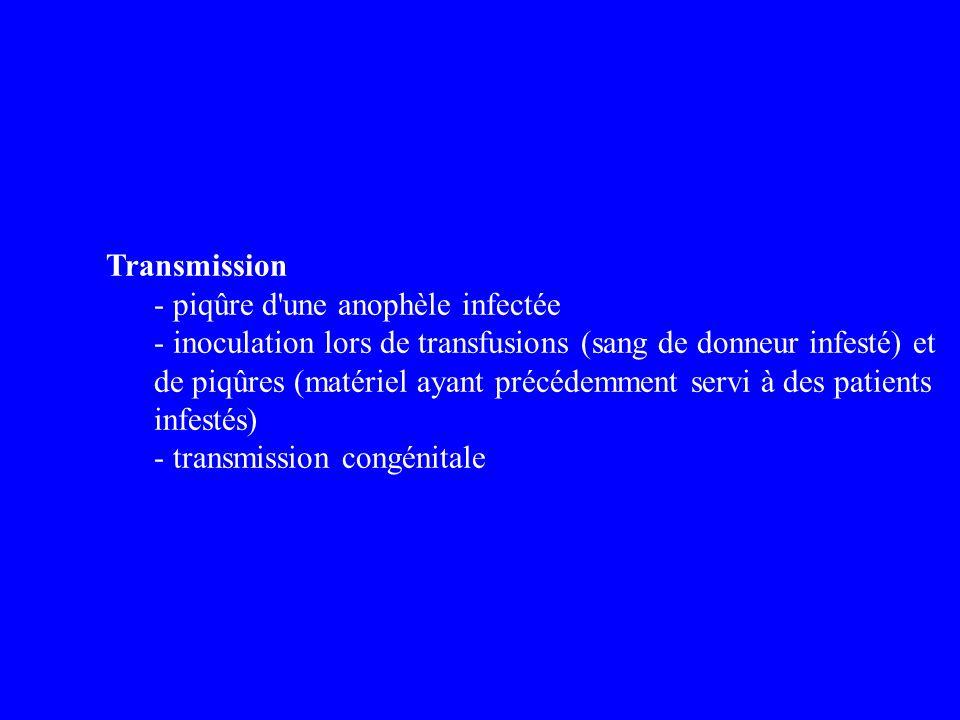 Transmission - piqûre d'une anophèle infectée - inoculation lors de transfusions (sang de donneur infesté) et de piqûres (matériel ayant précédemment