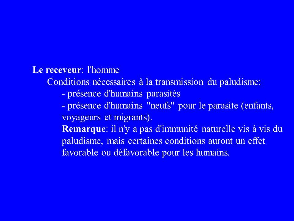 Le receveur: l'homme Conditions nécessaires à la transmission du paludisme: - présence d'humains parasités - présence d'humains