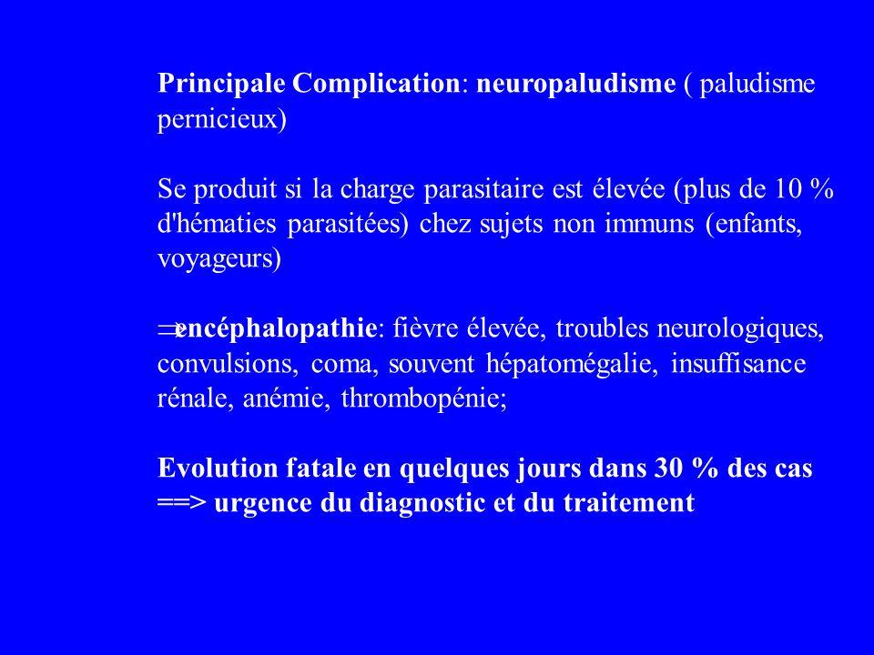 Principale Complication: neuropaludisme ( paludisme pernicieux) Se produit si la charge parasitaire est élevée (plus de 10 % d'hématies parasitées) ch