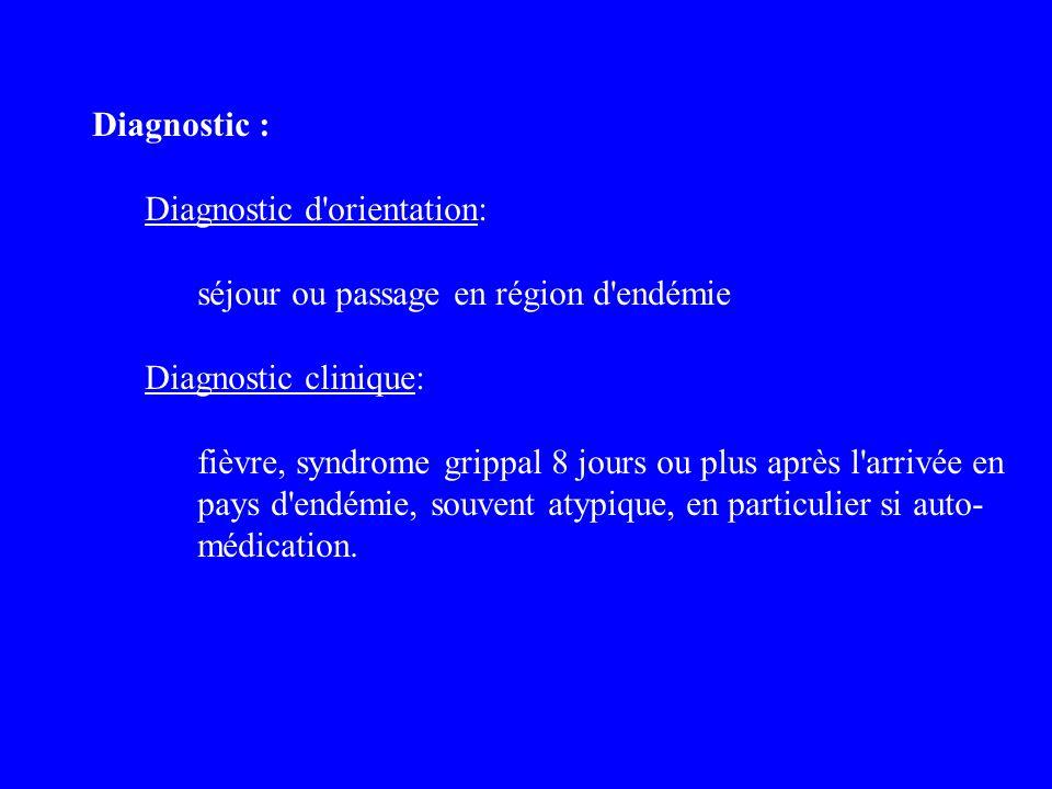 Diagnostic : Diagnostic d'orientation: séjour ou passage en région d'endémie Diagnostic clinique: fièvre, syndrome grippal 8 jours ou plus après l'arr