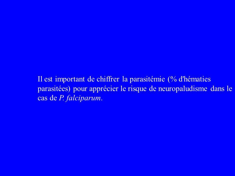 Il est important de chiffrer la parasitémie (% d'hématies parasitées) pour apprécier le risque de neuropaludisme dans le cas de P. falciparum.