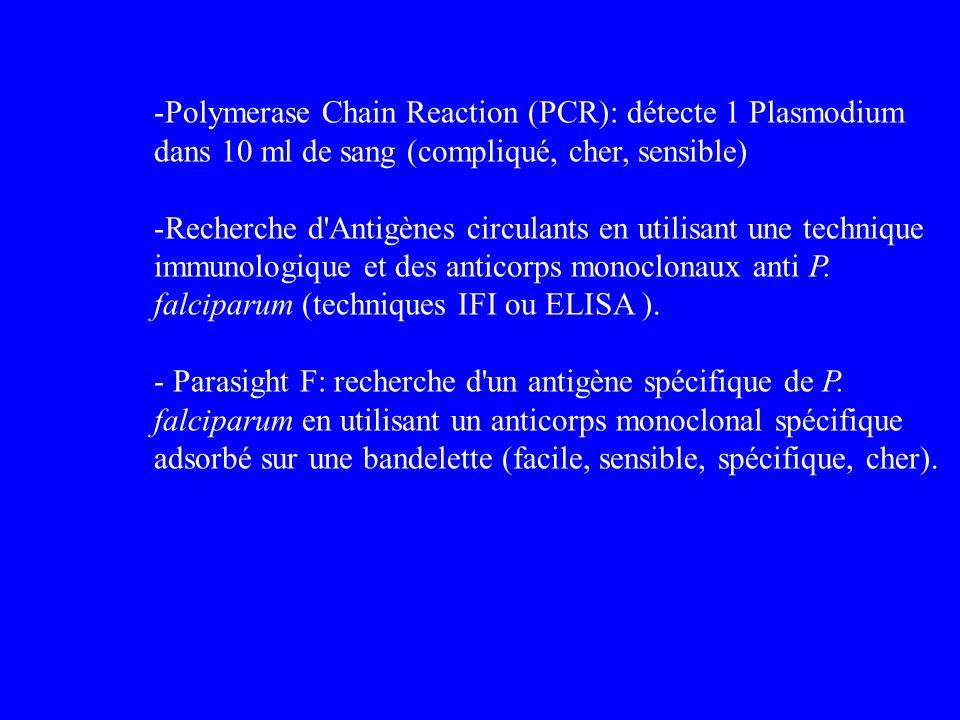 -Polymerase Chain Reaction (PCR): détecte 1 Plasmodium dans 10 ml de sang (compliqué, cher, sensible) -Recherche d'Antigènes circulants en utilisant u