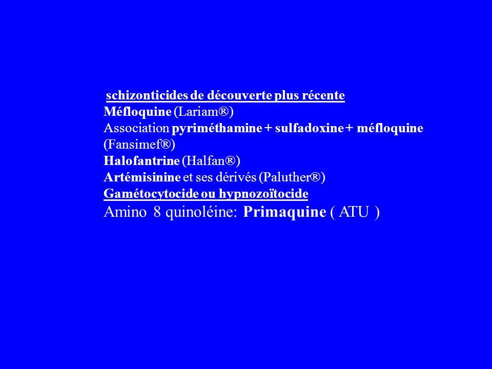 schizonticides de découverte plus récente Méfloquine (Lariam®) Association pyriméthamine + sulfadoxine + méfloquine (Fansimef®) Halofantrine (Halfan®)