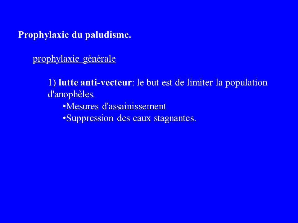 Prophylaxie du paludisme. prophylaxie générale 1) lutte anti-vecteur: le but est de limiter la population d'anophèles. Mesures d'assainissement Suppre