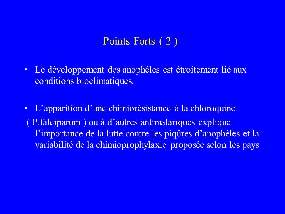 Points Forts ( 2 ) Le développement des anophèles est étroitement lié aux conditions bioclimatiques. Lapparition dune chimiorésistance à la chloroquin