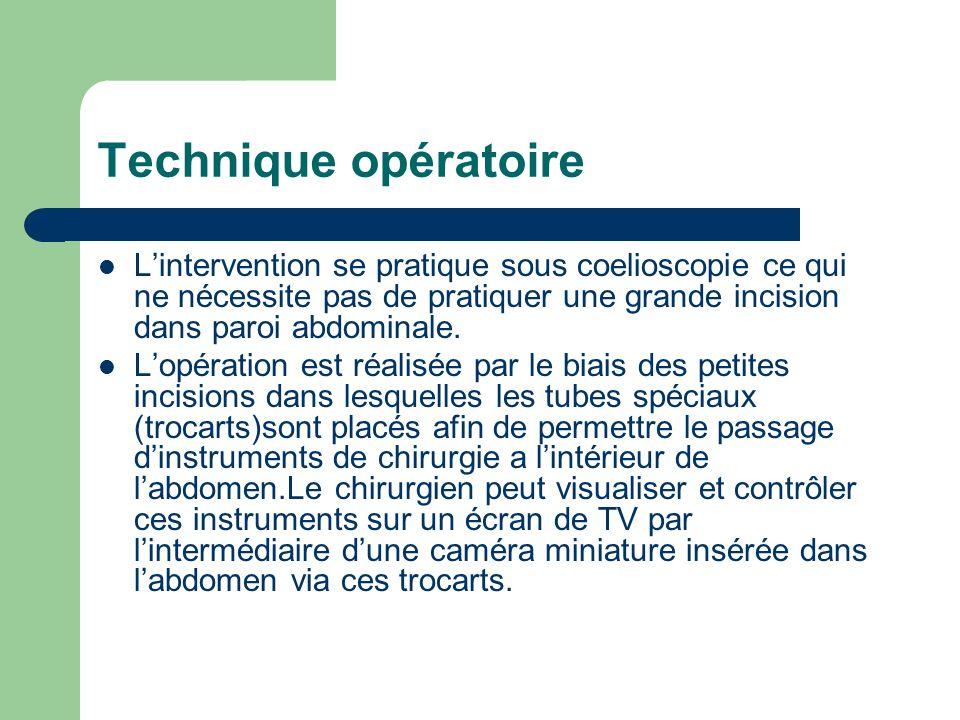 Technique opératoire Lintervention se pratique sous coelioscopie ce qui ne nécessite pas de pratiquer une grande incision dans paroi abdominale. Lopér