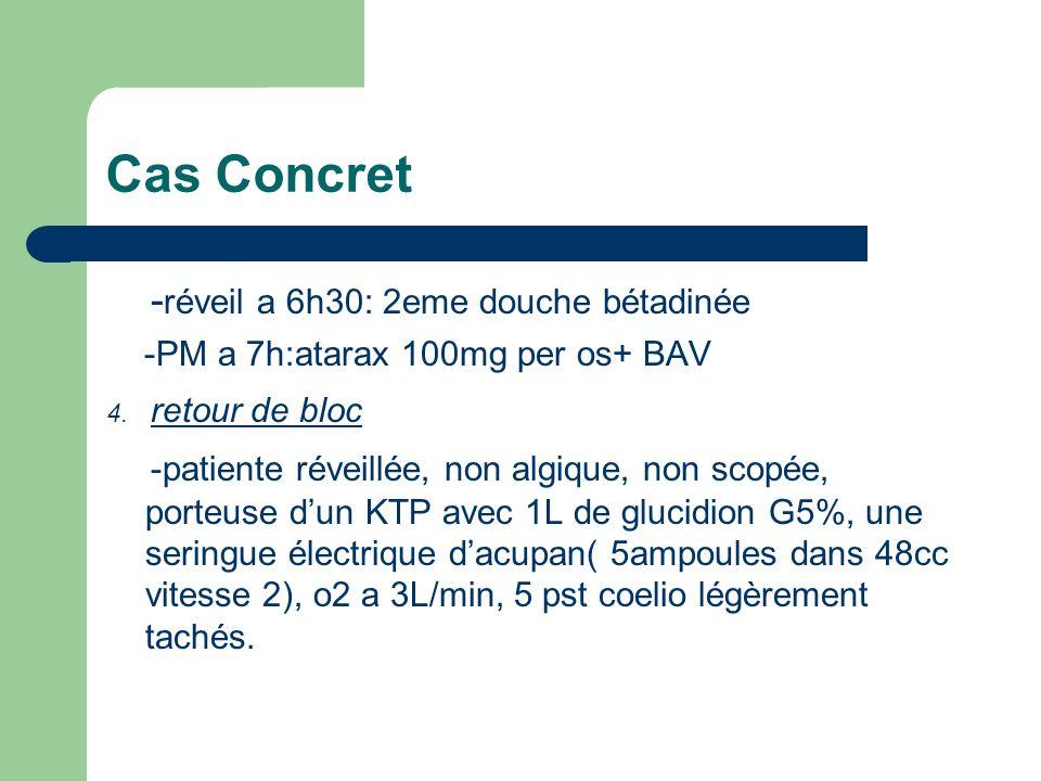 Cas Concret - réveil a 6h30: 2eme douche bétadinée -PM a 7h:atarax 100mg per os+ BAV 4. retour de bloc -patiente réveillée, non algique, non scopée, p