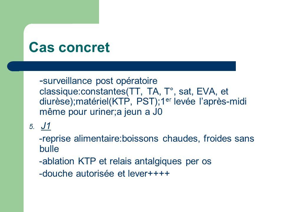 Cas concret - surveillance post opératoire classique:constantes(TT, TA, T°, sat, EVA, et diurèse);matériel(KTP, PST);1 er levée laprès-midi même pour