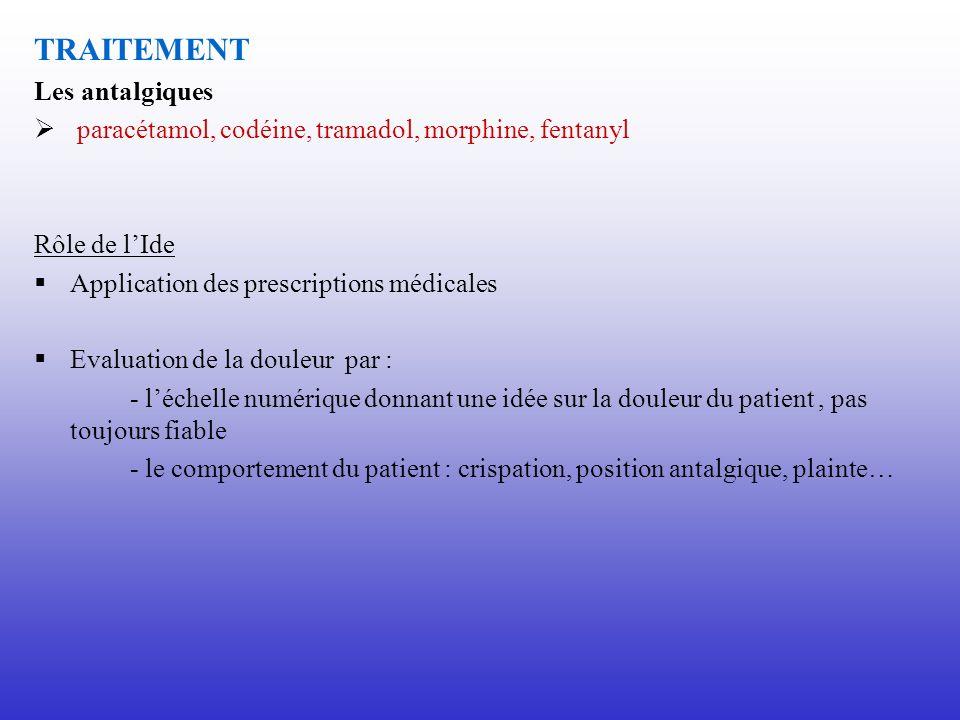 TRAITEMENT Les antalgiques paracétamol, codéine, tramadol, morphine, fentanyl Rôle de lIde Application des prescriptions médicales Evaluation de la do