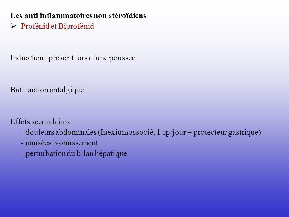 Les anti inflammatoires non stéroïdiens Profénid et Biprofénid Indication : prescrit lors dune poussée But : action antalgique Effets secondaires - do
