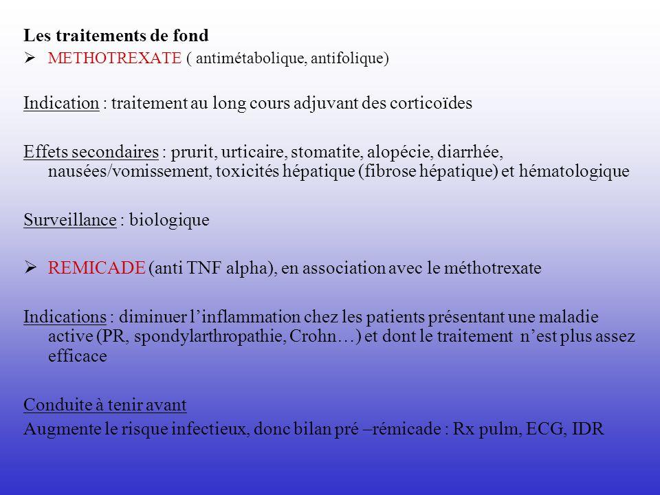 Les traitements de fond METHOTREXATE ( antimétabolique, antifolique) Indication : traitement au long cours adjuvant des corticoïdes Effets secondaires