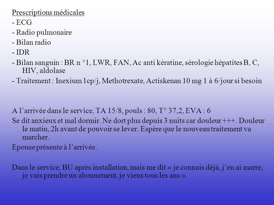 Prescriptions médicales - ECG - Radio pulmonaire - Bilan radio - IDR - Bilan sanguin : BR n °1, LWR, FAN, Ac anti kératine, sérologie hépatites B, C,