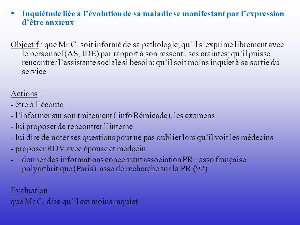 Inquiétude liée à lévolution de sa maladie se manifestant par lexpression dêtre anxieux Objectif : que Mr C. soit informé de sa pathologie; quil sexpr